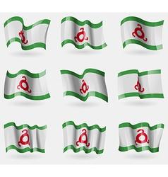 Set of Ingushetia flags in the air vector