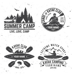 set of kayak club badge vector image