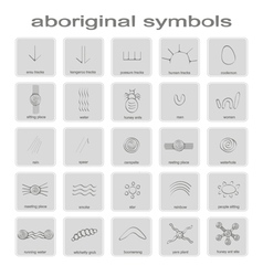 Set of monochrome icons with symbols of Australian vector