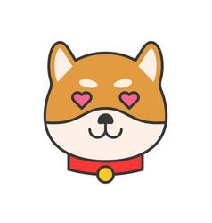 Shiba inu emoticon filled outline design vector