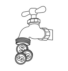 Silhouette faucet with coins save water vector