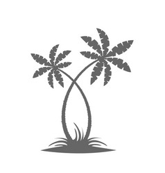 Silhouette of palm trees on the island vector
