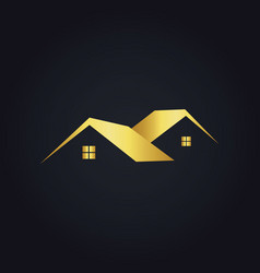 Simple house icon gold logo vector