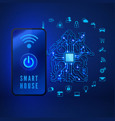 smart home concept remote monitoring and control vector image