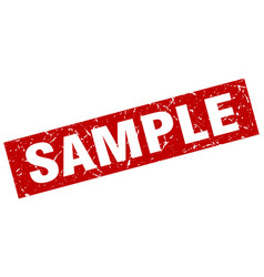 Square grunge red sample stamp vector