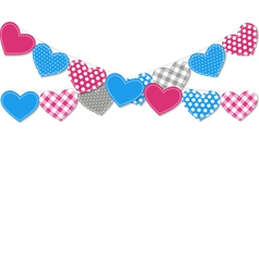 Stitched hearts buntings garlands isolated on vector image