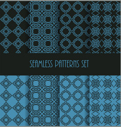 Stylish seamless pattern set decorative line tile vector