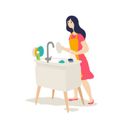 the girl washes dishes flat cartoon style vector image