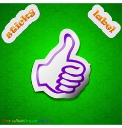 Thumb up like icon sign Symbol chic colored sticky vector image