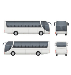 Travel bus realistic tourism autobus mockup cargo vector