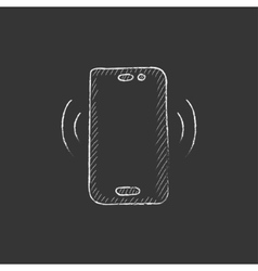 Vibrating phone Drawn in chalk icon vector
