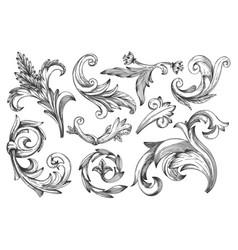 vintage baroque frame or border scroll element set vector image