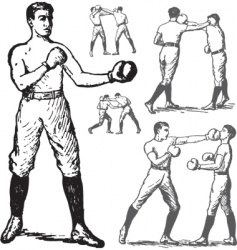 Vintage boxing poses vector