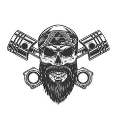 vintage severe biker skull in bandana vector image