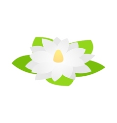 White lotus flower icon isometric 3d style vector