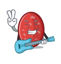 With guitar salami mascot cartoon style vector