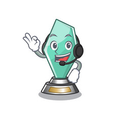 With headphone acrylic trophy stored in cartoon vector