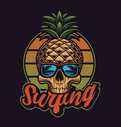 With pineapple skull in vintage style vector