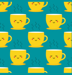 Yellow cup character hot tea pattern vector