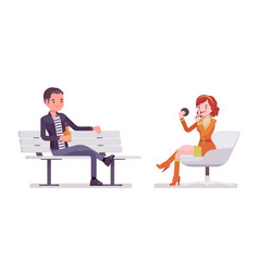 young man and woman sitting and relaxing vector image