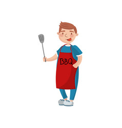 young man in red apron with spatula man cooking a vector image