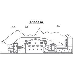 andorra architecture line skyline vector image