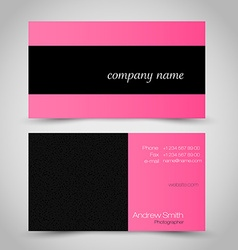 Business card set template pink and black color vector