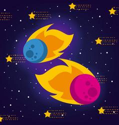 meteorite solar system flat vector image