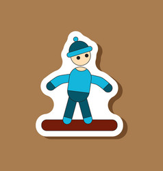 Paper sticker on stylish background snowboarder vector