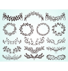 Set of hand-drawn floral borders and wreaths vector image vector image
