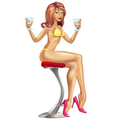sexy woman in bikini with cocktails vector image vector image