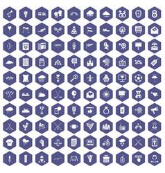 100 arrow icons hexagon purple vector image vector image