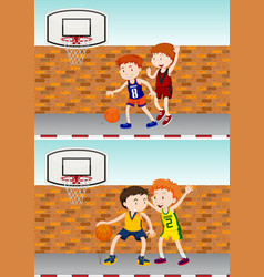 boys playing basketball by the street vector image vector image