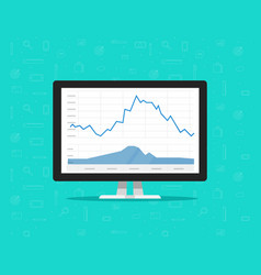 computer with stocks graphs vector image