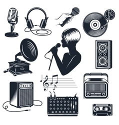 Karaoke Elements Monochrome Vintage Set vector image