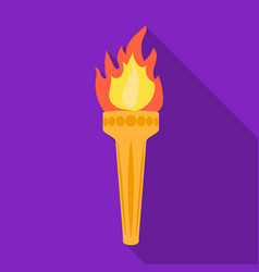 Olympic torch icon in flat style isolated on white vector