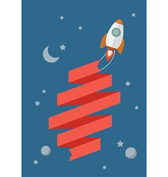Rocket flying in space with banner vector image vector image
