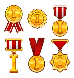 Trophy awards flat medal first place badge vector