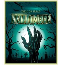 Zombie monster hand green Halloween background vector image vector image