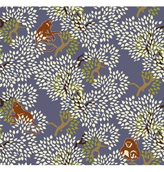 Abstract floral seamless pattern Trees and monkeys vector image
