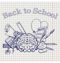Back to school with brain stationery vector image