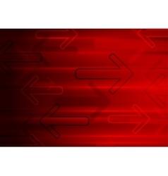 Dark red tech glowing arrows background vector image