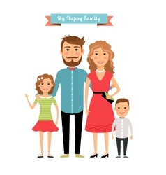 Happy family Parents and kids vector image vector image