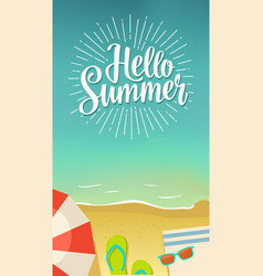 hello summer hand drawn lettering with rays on vector image vector image