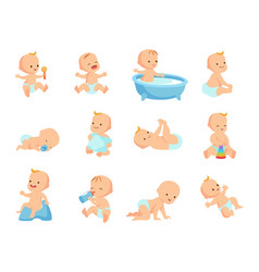 infant newborn baby big set in different activity vector image