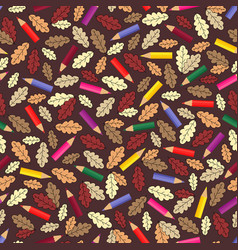 seamless pattern with colour pencils and autumn vector image vector image