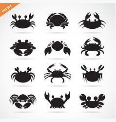 set of crab icons on white background aquatic vector image vector image