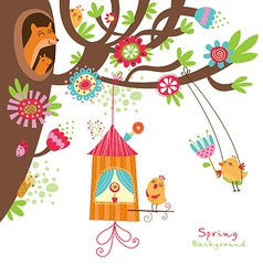 Spring floral card with birds vector image vector image