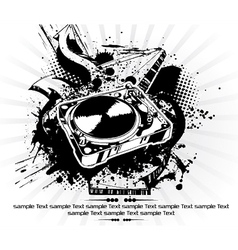 turntable with grunge vector image vector image