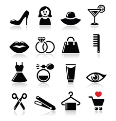 Woman or girl - beauty and fashion icons se vector image